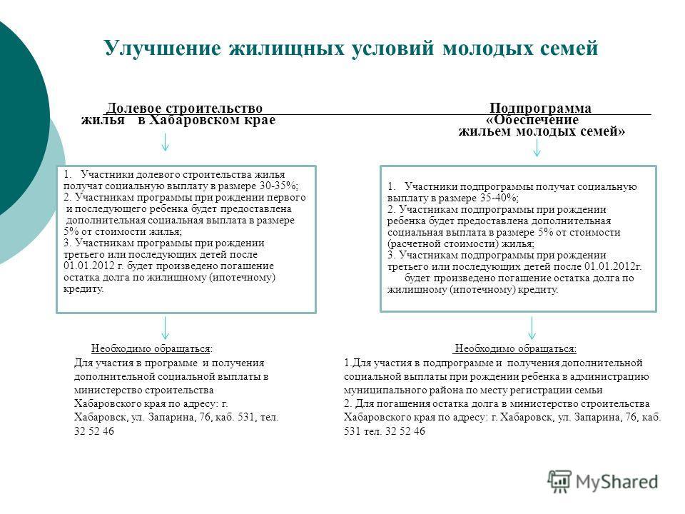 Долевое строительство жилья в Хабаровском крае Подпрограмма «Обеспечение жильем молодых семей» 1.Участники долевого строительства жилья получат социальную выплату в размере 30-35%; 2. Участникам программы при рождении первого и последующего ребенка б