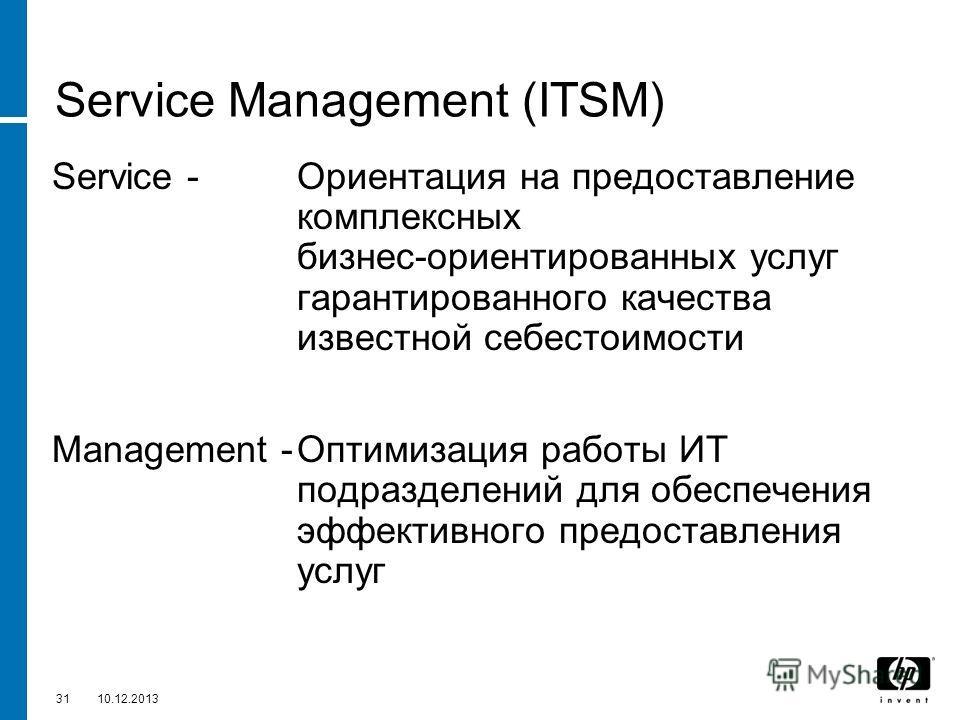 3110.12.2013 Service Management (ITSM) Service - Ориентация на предоставление комплексных бизнес-ориентированных услуг гарантированного качества известной себестоимости Management -Оптимизация работы ИТ подразделений для обеспечения эффективного пред