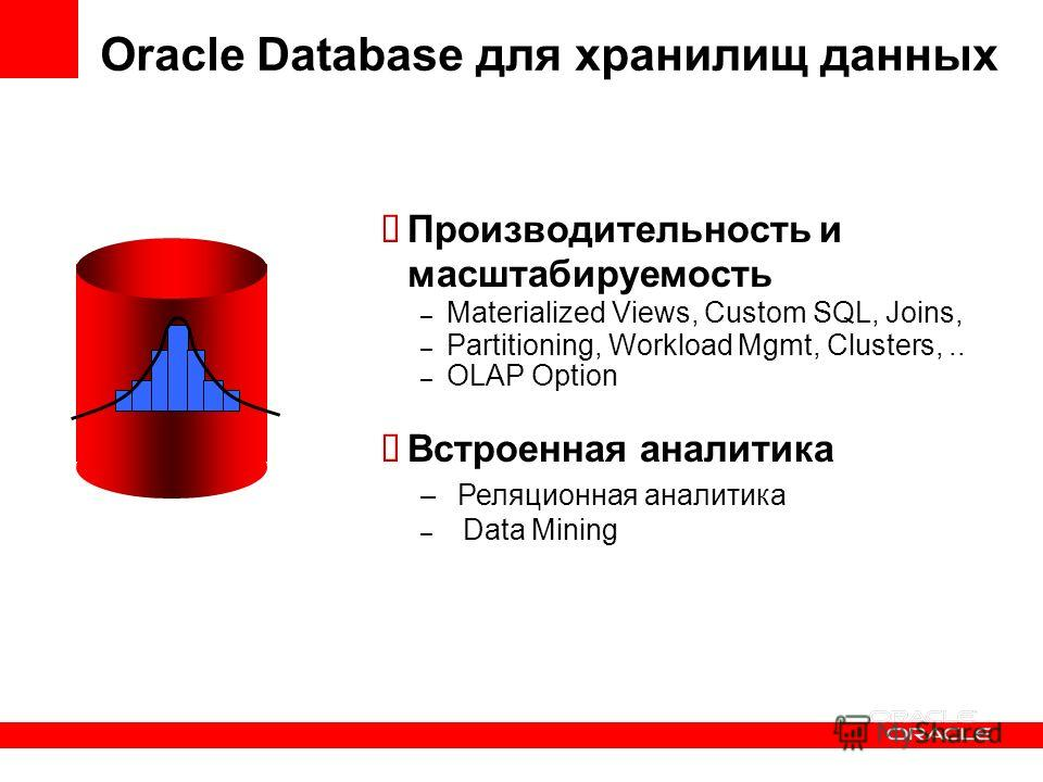 Oracle Database для хранилищ данных Производительность и масштабируемость – Materialized Views, Custom SQL, Joins, – Partitioning, Workload Mgmt, Clusters,.. – OLAP Option Встроенная аналитика – Реляционная аналитика – Data Mining