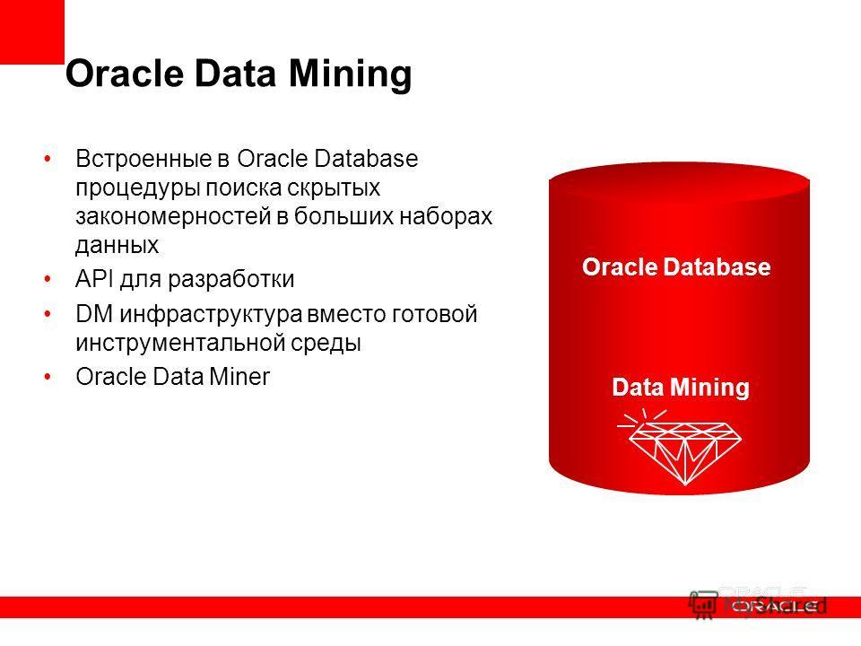 Oracle Data Mining Встроенные в Oracle Database процедуры поиска скрытых закономерностей в больших наборах данных API для разработки DM инфраструктура вместо готовой инструментальной среды Oracle Data Miner Data Mining Oracle Database
