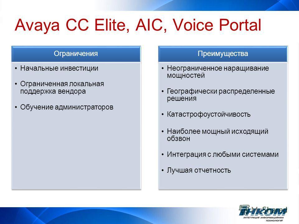 Avaya СС Elite, AIC, Voice Portal Ограничения Начальные инвестиции Ограниченная локальная поддержка вендора Обучение администраторов Преимущества Неограниченное наращивание мощностей Географически распределенные решения Катастрофоустойчивость Наиболе
