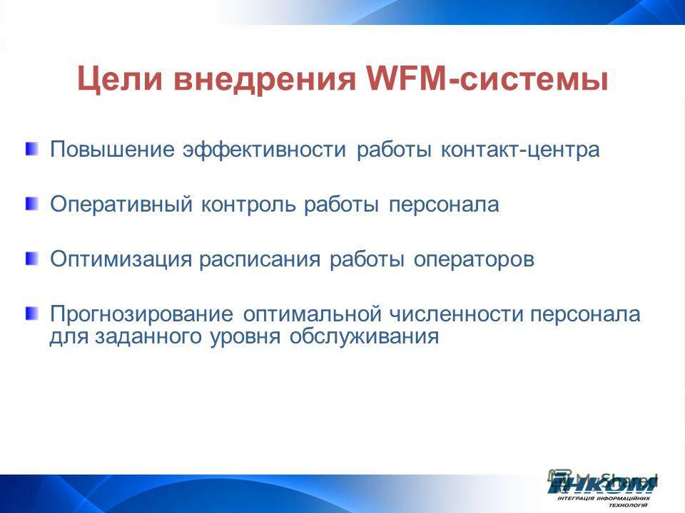Цели внедрения WFM-системы Повышение эффективности работы контакт-центра Оперативный контроль работы персонала Оптимизация расписания работы операторов Прогнозирование оптимальной численности персонала для заданного уровня обслуживания