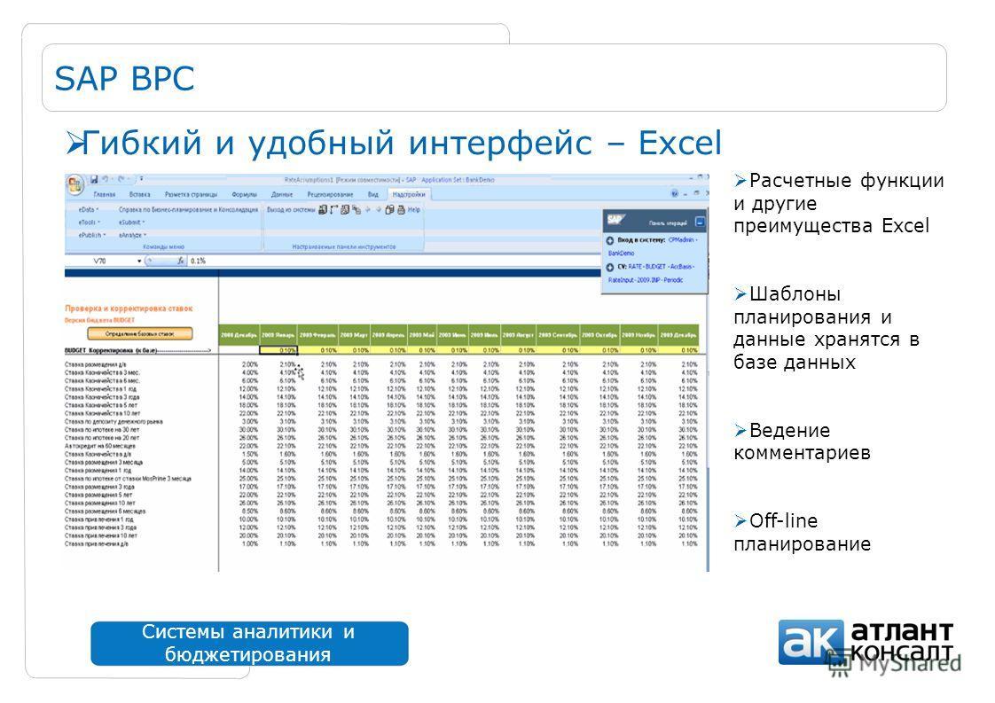 Системы аналитики и бюджетирования SAP BPC Расчетные функции и другие преимущества Excel Шаблоны планирования и данные хранятся в базе данных Ведение комментариев Off-line планирование Гибкий и удобный интерфейс – Excel