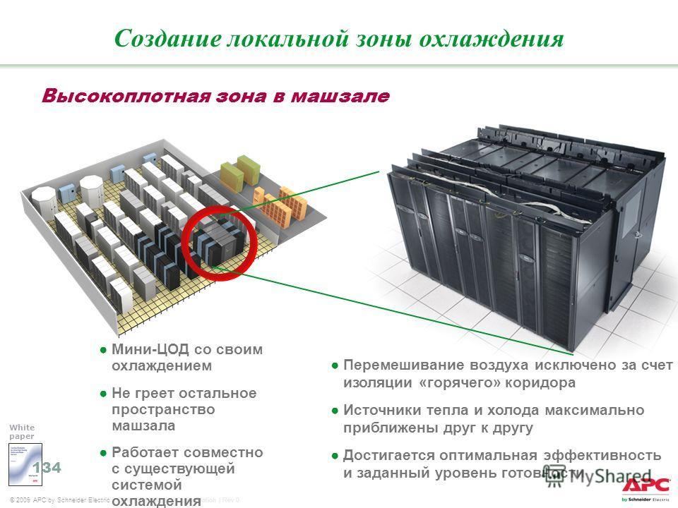 © 2009 APC by Schneider Electric Core | Virtualization-Consolidation | Rev 0 Мини-ЦОД со своим охлаждением Не греет остальное пространство машзала Работает совместно с существующей системой охлаждения Высокоплотная зона в машзале Создание локальной з