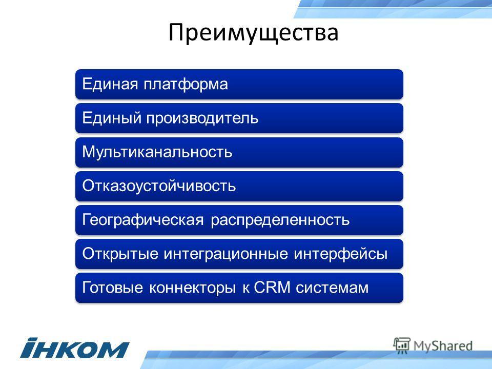 Преимущества Единая платформаЕдиный производительМультиканальностьОтказоустойчивостьГеографическая распределенностьОткрытые интеграционные интерфейсыГотовые коннекторы к CRM системам