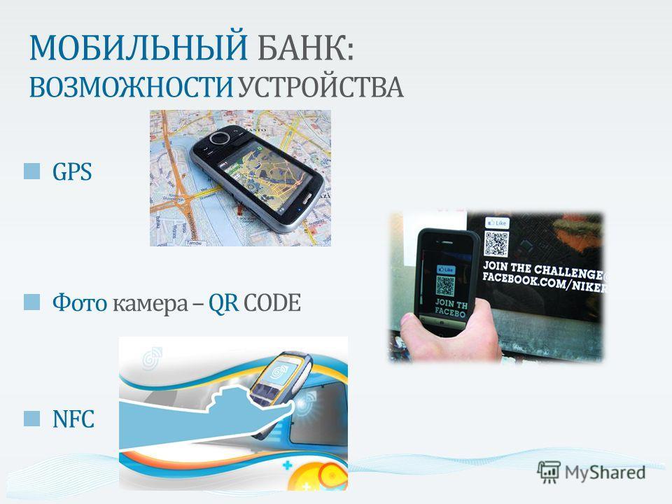 МОБИЛЬНЫЙ БАНК: ВОЗМОЖНОСТИ УСТРОЙСТВА GPS Фото камера – QR CODE NFC