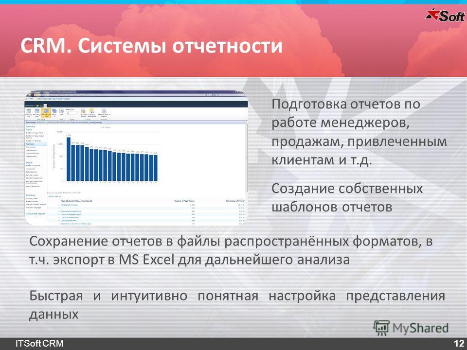 12 Подготовка отчетов по работе менеджеров, продажам, привлеченным клиентам и т.д. Сохранение отчетов в файлы распространённых форматов, в т.ч. экспорт в MS Excel для дальнейшего анализа Создание собственных шаблонов отчетов CRM. Системы отчетности Б