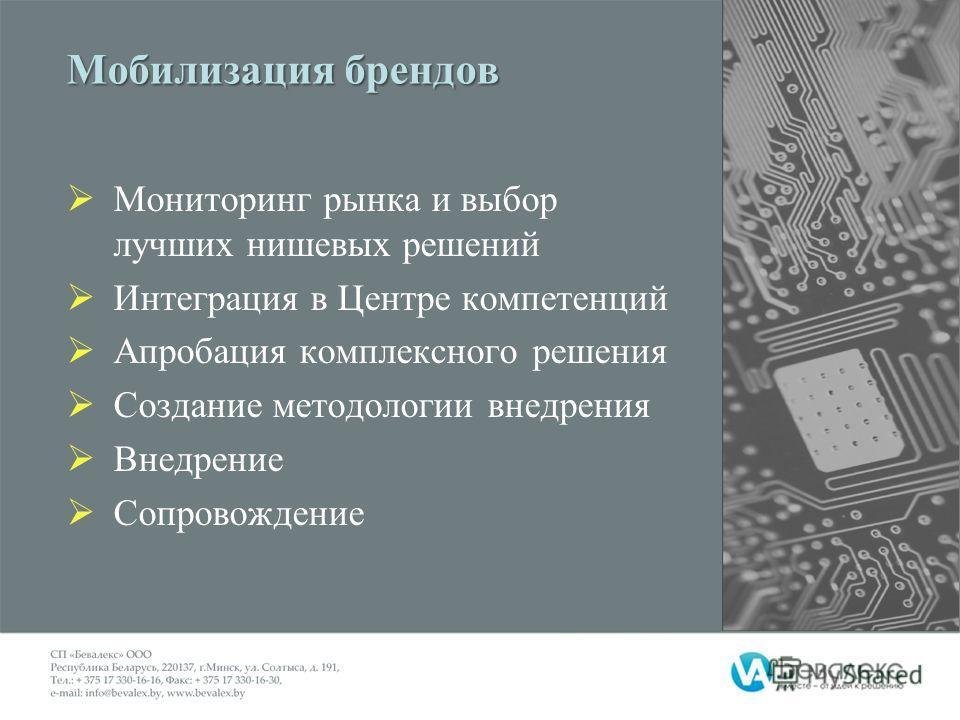 Мобилизация брендов Мониторинг рынка и выбор лучших нишевых решений Интеграция в Центре компетенций Апробация комплексного решения Создание методологии внедрения Внедрение Сопровождение