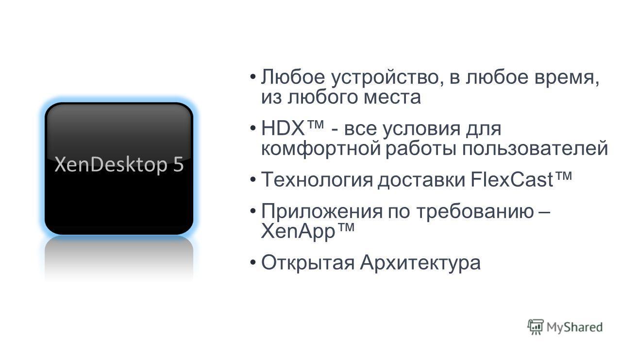 Любое устройство, в любое время, из любого места HDX - все условия для комфортной работы пользователей Технология доставки FlexCast Приложения по требованию – XenApp Открытая Архитектура