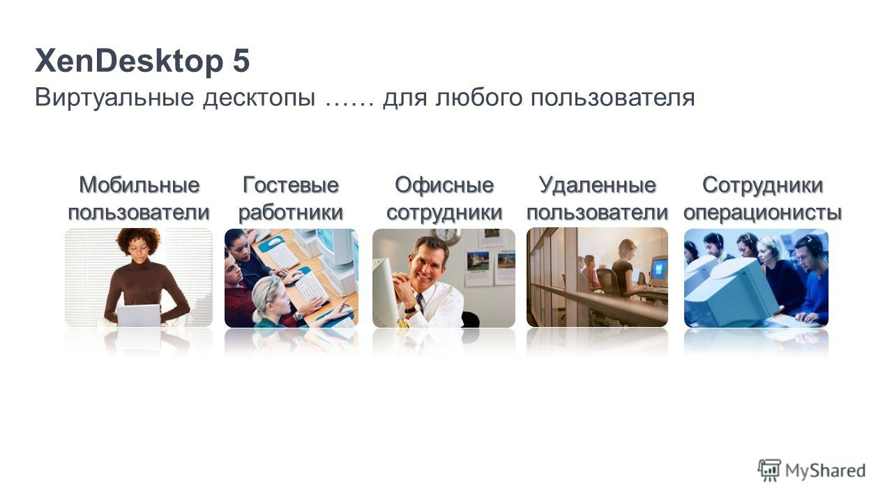 XenDesktop 5 Виртуальные десктопы …… для любого пользователя Мобильные пользователи Сотрудники операционисты Удаленныепользователи Офисные сотрудники Гостевые работники