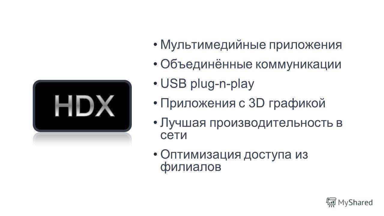 Мультимедийные приложения Объединённые коммуникации USB plug-n-play Приложения с 3D графикой Лучшая производительность в сети Оптимизация доступа из филиалов