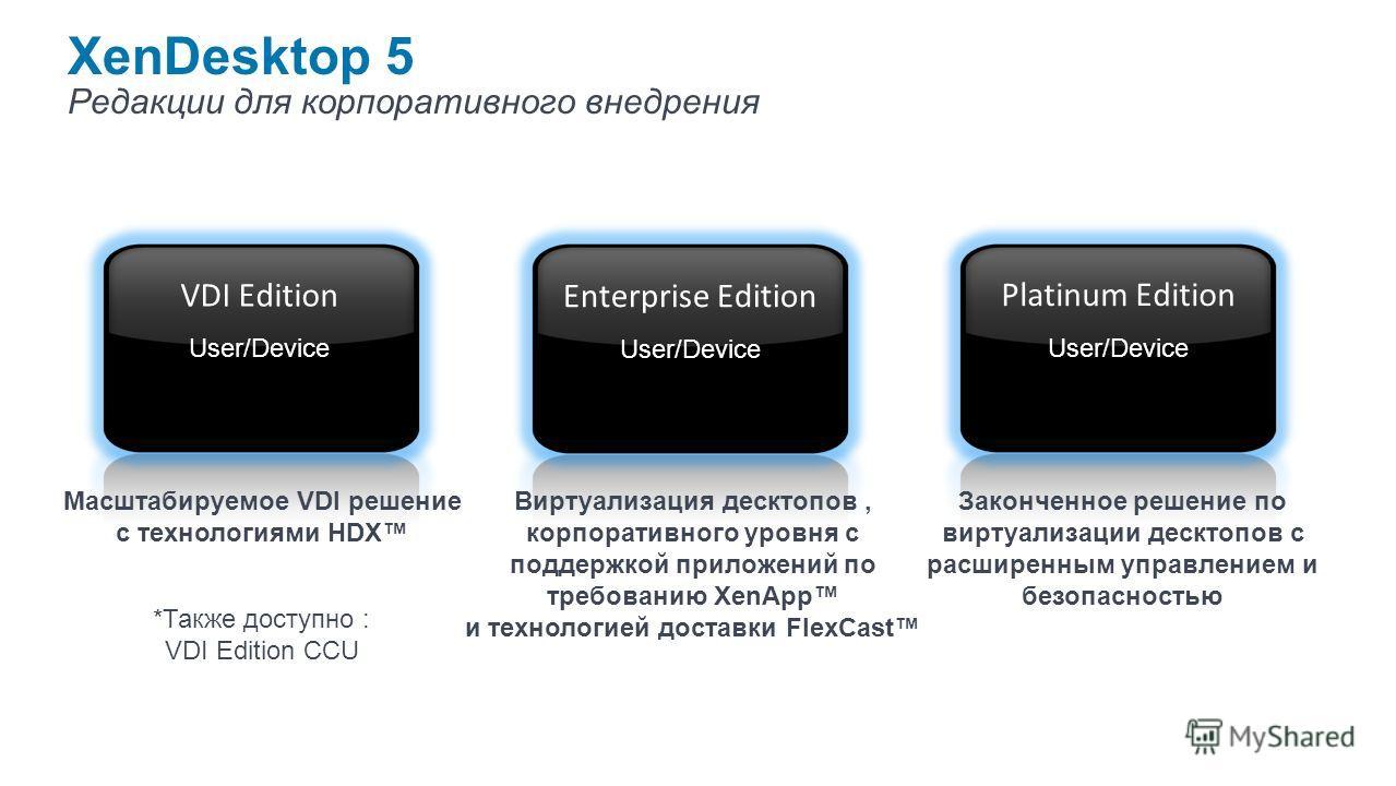 XenDesktop 5 Редакции для корпоративного внедрения Виртуализация десктопов, корпоративного уровня с поддержкой приложений по требованию XenApp и технологией доставки FlexCast Законченное решение по виртуализации десктопов с расширенным управлением и