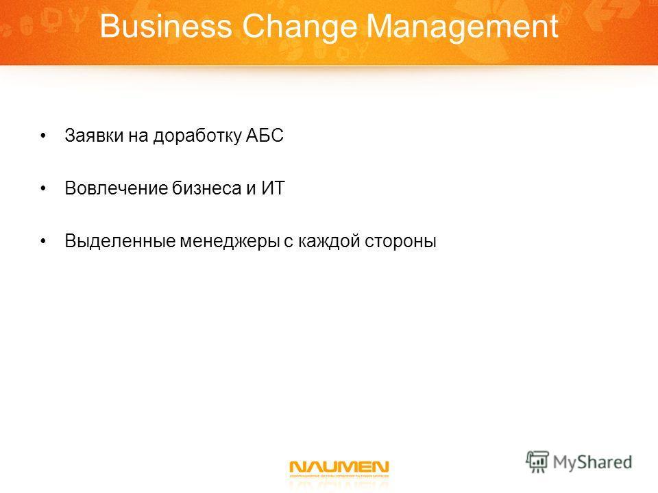 Business Change Management Заявки на доработку АБС Вовлечение бизнеса и ИТ Выделенные менеджеры с каждой стороны