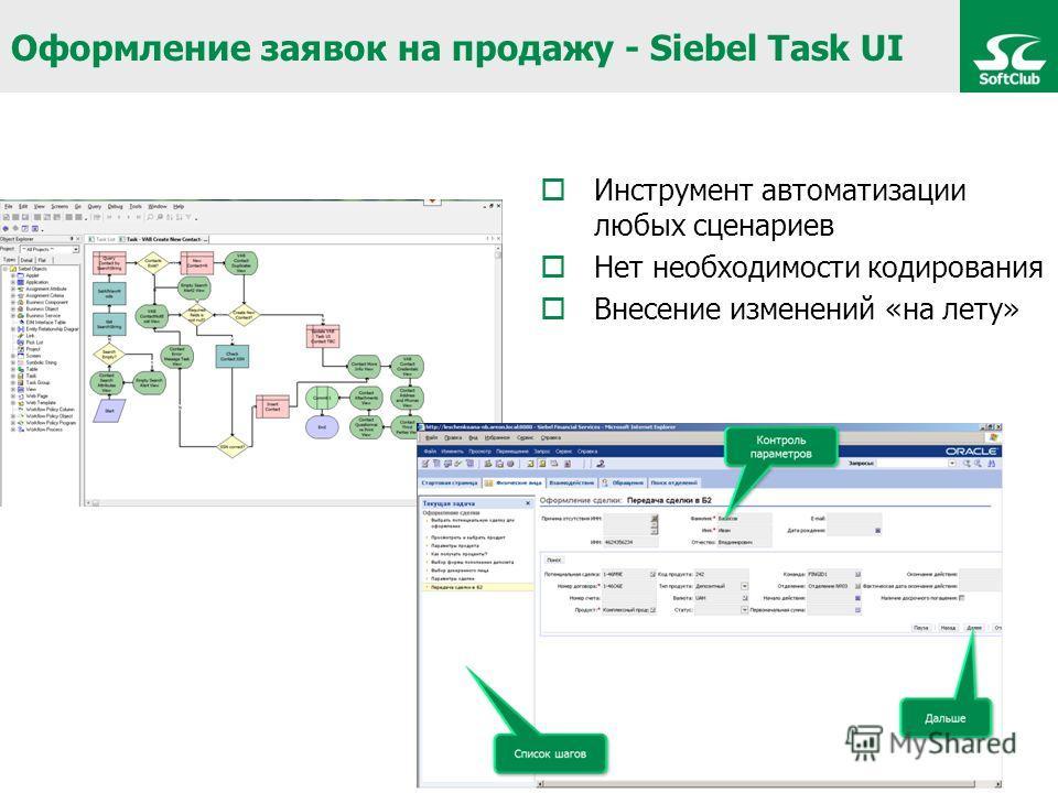 Оформление заявок на продажу - Siebel Task UI Инструмент автоматизации любых сценариев Нет необходимости кодирования Внесение изменений «на лету»