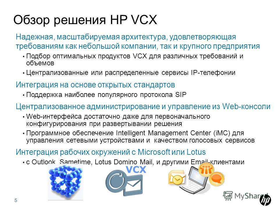 Обзор решения HP VCX Надежная, масштабируемая архитектура, удовлетворяющая требованиям как небольшой компании, так и крупного предприятия Подбор оптимальных продуктов VCX для различных требований и объемов Централизованные или распределенные сервисы