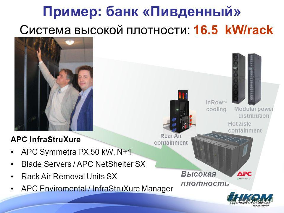 Пример: банк «Пивденный» InRow cooling Высокая плотность Hot aisle containment Modular power distribution Rear Air containment Система высокой плотности: 16.5 kW/rack APC InfraStruXure APC Symmetra PX 50 kW, N+1 Blade Servers / APC NetShelter SX Rack