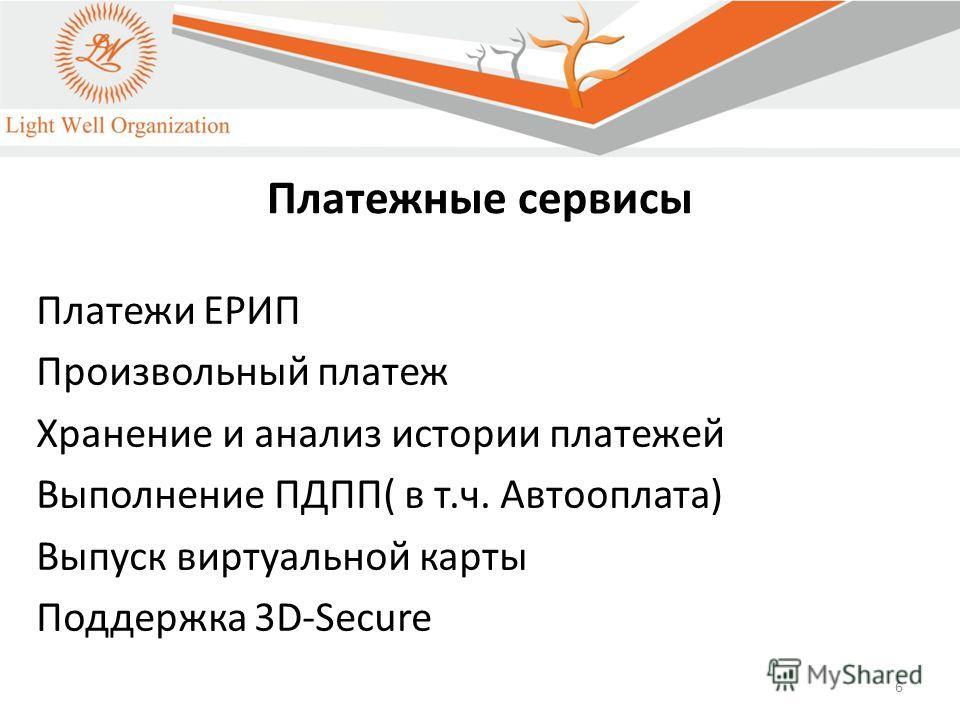 6 Платежные сервисы Платежи ЕРИП Произвольный платеж Хранение и анализ истории платежей Выполнение ПДПП( в т.ч. Автооплата) Выпуск виртуальной карты Поддержка 3D-Secure