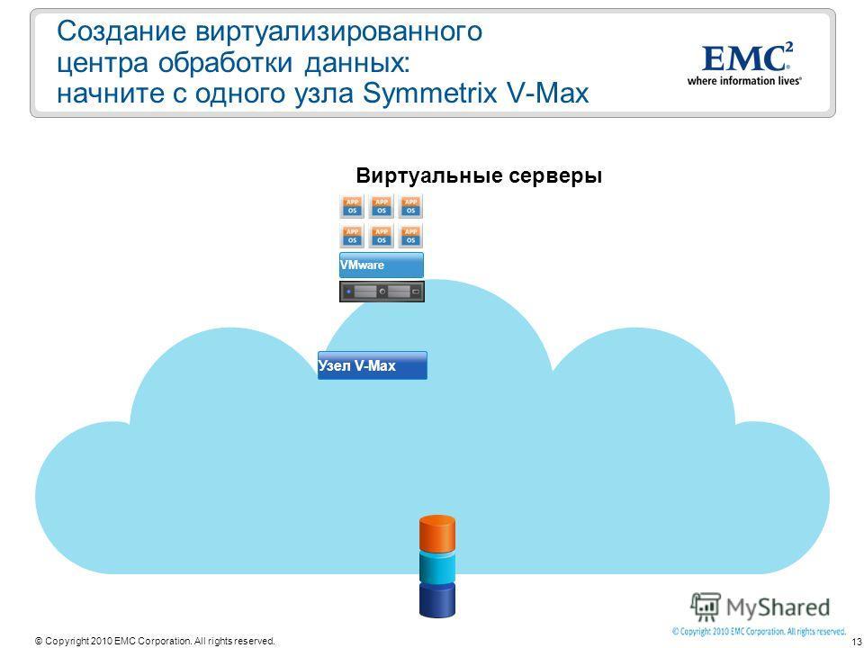13 © Copyright 2010 EMC Corporation. All rights reserved. Создание виртуализированного центра обработки данных: начните с одного узла Symmetrix V-Max Виртуальные серверы Узел V-Max VMware