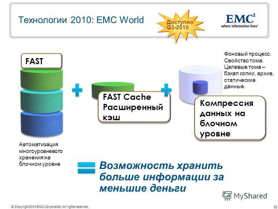 22 © Copyright 2010 EMC Corporation. All rights reserved. Возможность хранить больше информации за меньшие деньги FAST Cache Расширенный кэш FAST Cache Расширенный кэш FAST Компрессия данных на блочном уровне Технологии 2010: EMC World Доступно Q3-20