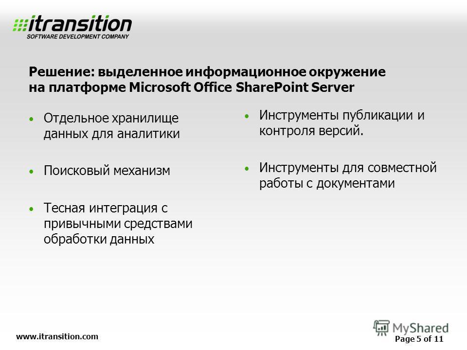 www.itransition.com Page 5 of 11 Отдельное хранилище данных для аналитики Поисковый механизм Тесная интеграция с привычными средствами обработки данных Инструменты публикации и контроля версий. Инструменты для совместной работы с документами Решение: