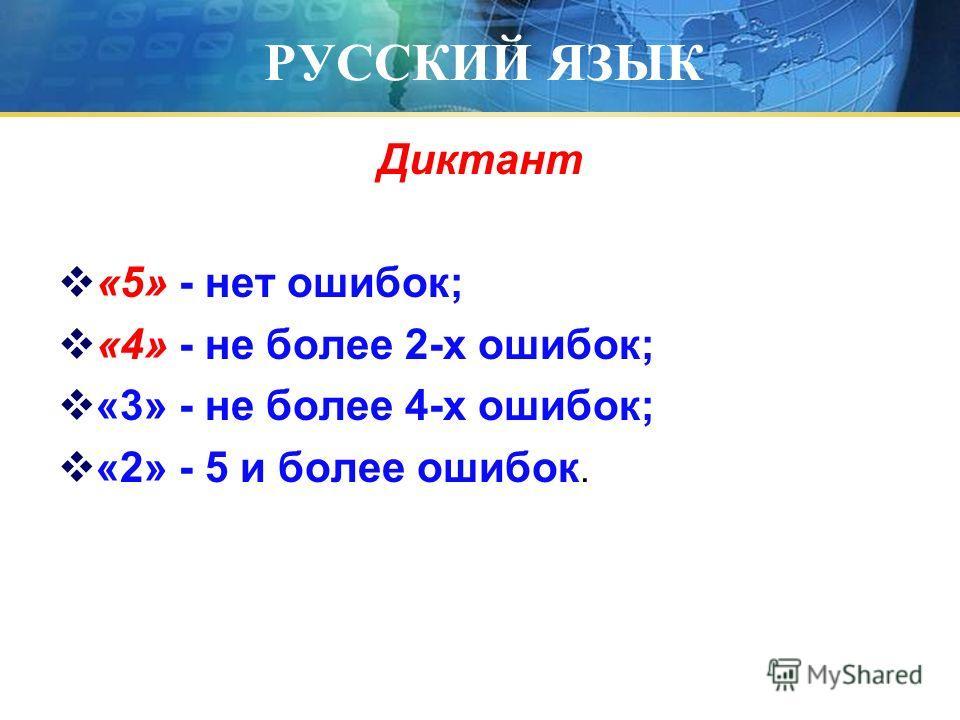 РУССКИЙ ЯЗЫК Диктант «5» - нет ошибок; «4» - не более 2-х ошибок; «3» - не более 4-х ошибок; «2» - 5 и более ошибок.