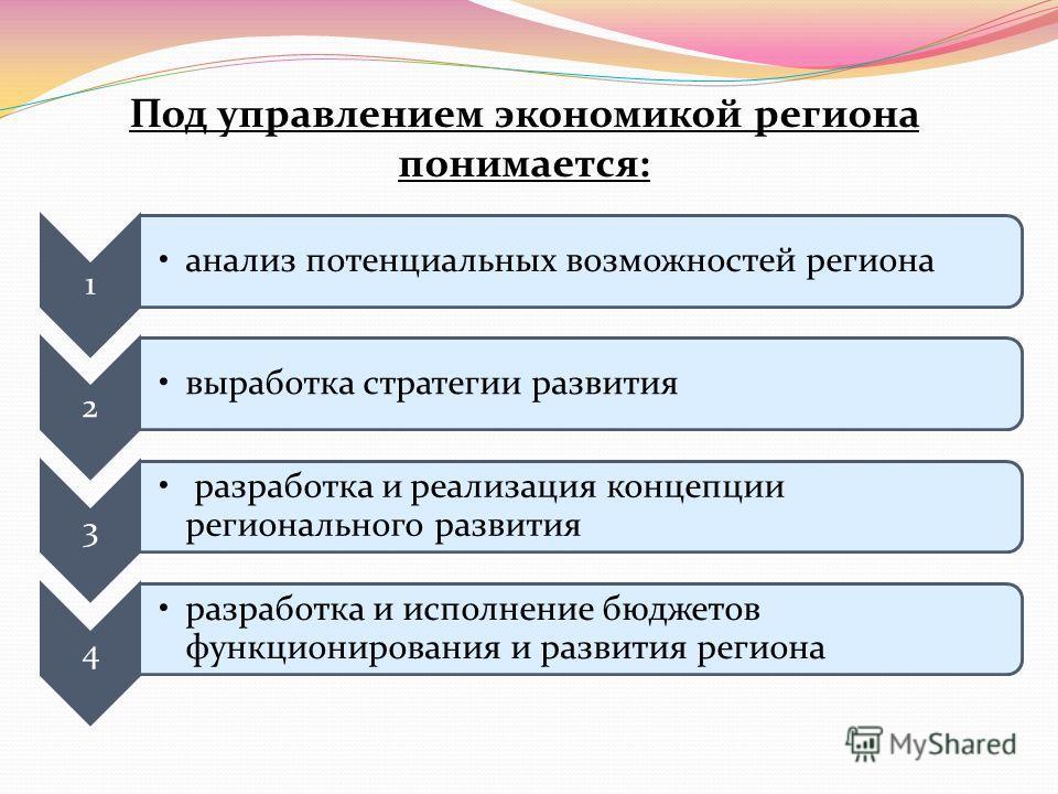 1 анализ потенциальных возможностей региона 2 выработка стратегии развития 3 разработка и реализация концепции регионального развития 4 разработка и исполнение бюджетов функционирования и развития региона Под управлением экономикой региона понимается