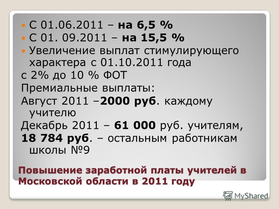 Повышение заработной платы учителей в Московской области в 2011 году С 01.06.2011 – на 6,5 % С 01. 09.2011 – на 15,5 % Увеличение выплат стимулирующего характера с 01.10.2011 года с 2% до 10 % ФОТ Премиальные выплаты: Август 2011 –2000 руб. каждому у