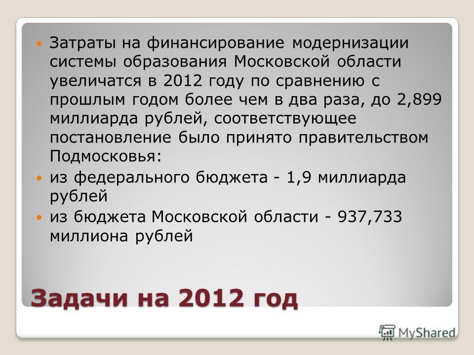 Задачи на 2012 год Затраты на финансирование модернизации системы образования Московской области увеличатся в 2012 году по сравнению с прошлым годом более чем в два раза, до 2,899 миллиарда рублей, соответствующее постановление было принято правитель