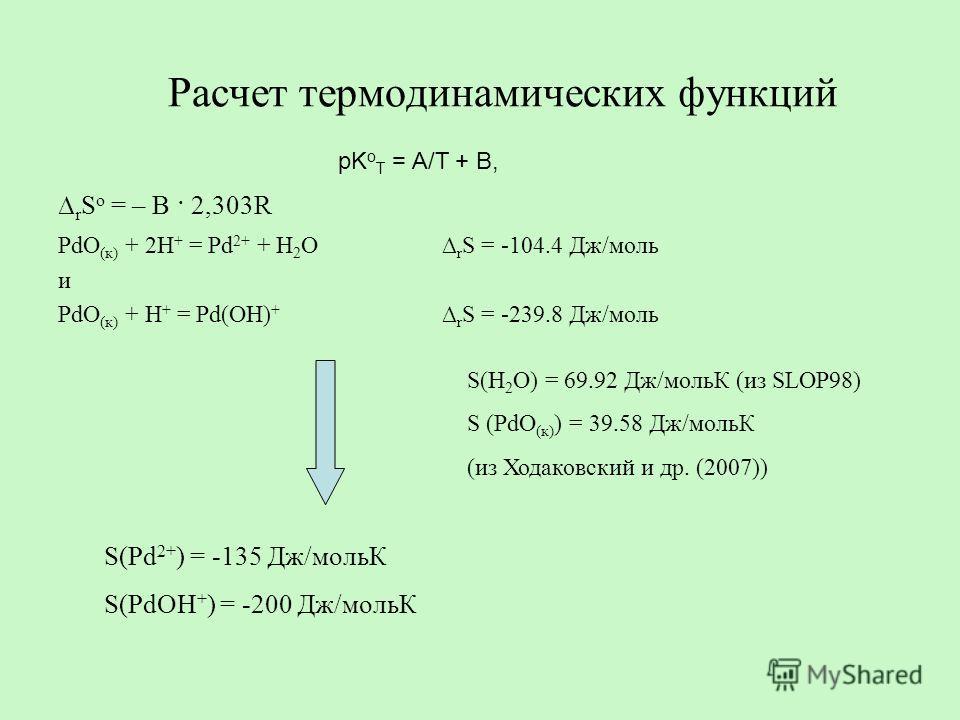 Расчет термодинамических функций r S o = – B · 2,303R PdO (к) + 2H + = Pd 2+ + H 2 O r S = -104.4 Дж/моль и PdO (к) + H + = Pd(OH) + r S = -239.8 Дж/моль S(H 2 O) = 69.92 Дж/мольК (из SLOP98) S (PdO (к) ) = 39.58 Дж/мольК (из Ходаковский и др. (2007)