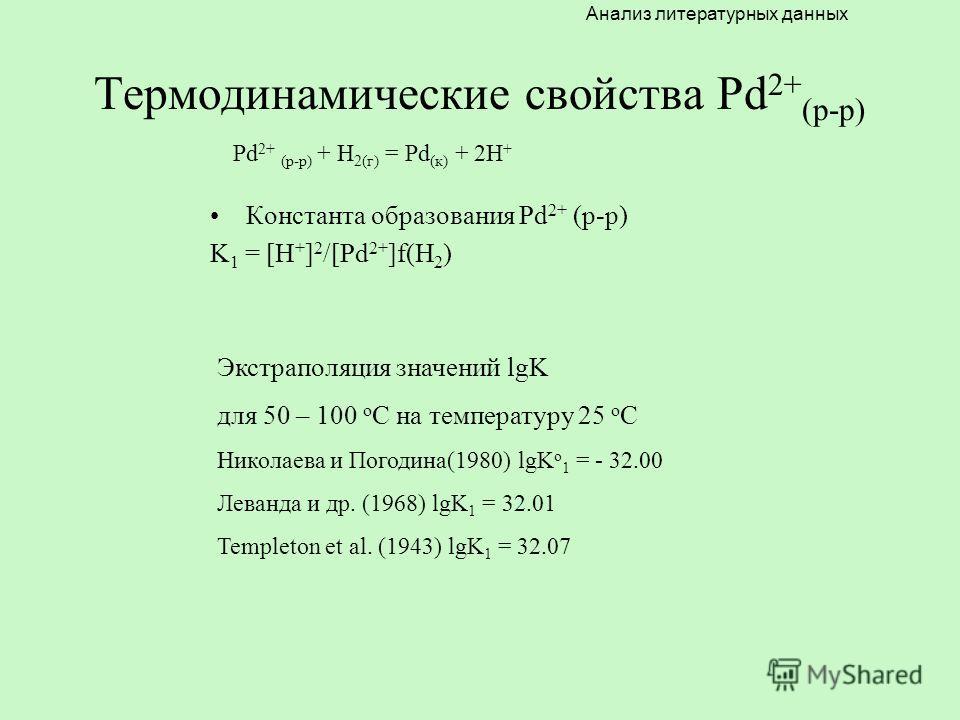 Термодинамические свойства Pd 2+ (р-р) Константа образования Pd 2+ (р-р) K 1 = [H + ] 2 /[Pd 2+ ]f(H 2 ) Экстраполяция значений lgK для 50 – 100 о С на температуру 25 о С Николаева и Погодина(1980) lgK о 1 = - 32.00 Леванда и др. (1968) lgK 1 = 32.01