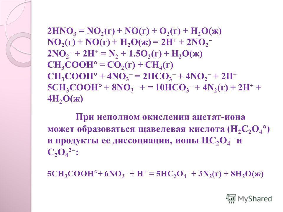 2HNO 3 = NO 2 (г) + NO(г) + O 2 (г) + H 2 O(ж) NO 2 (г) + NO(г) + H 2 O(ж) = 2H + + 2NO 2 2NO 2 + 2H + = N 2 + 1.5O 2 (г) + H 2 O(ж) CH 3 COOH = СO 2 (г) + CH 4 (г) CH 3 COOH + 4NO 3 = 2HCO 3 + 4NO 2 + 2H + 5CH 3 COOH + 8NO 3 + = 10HCO 3 + 4N 2 (г) +