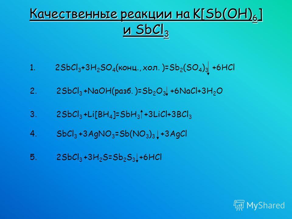 1. 2SbCl 3 +3H 2 SO 4 (конц., хол. )=Sb 2 (SO 4 ) 3 +6HCl 2. 2SbCl 3 +NaOH(разб. )=Sb 2 O 3 +6NaCl+3H 2 O 3. 2SbCl 3 +Li[BH 4 ]=SbH 3 +3LiCl+3BCl 3 4. SbCl 3 +3AgNO 3 =Sb(NO 3 ) 3 +3AgCl 5. 2SbCl 3 +3H 2 S=Sb 2 S 3 +6HCl Качественные реакции на K[Sb(