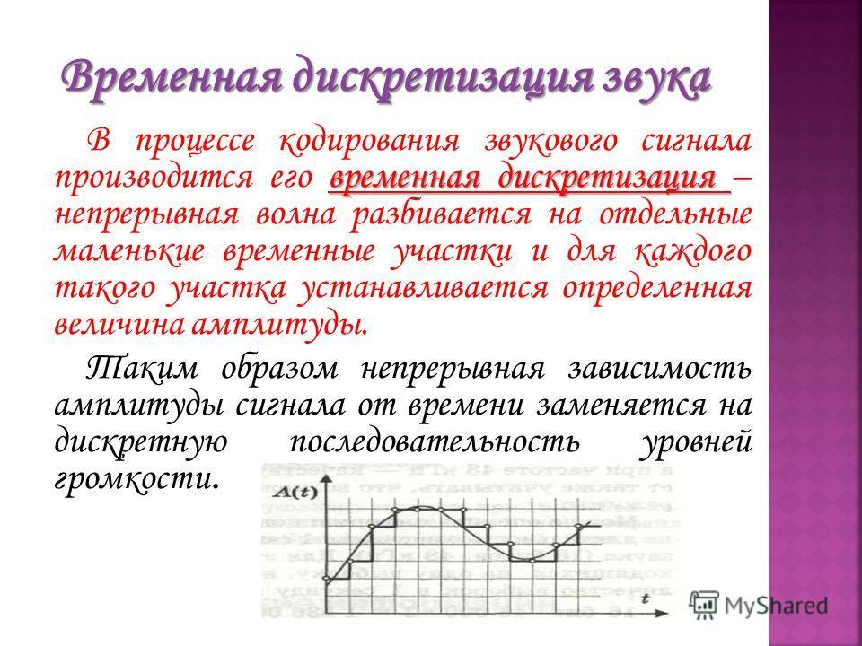 временная дискретизация В процессе кодирования звукового сигнала производится его временная дискретизация – непрерывная волна разбивается на отдельные маленькие временные участки и для каждого такого участка устанавливается определенная величина ампл