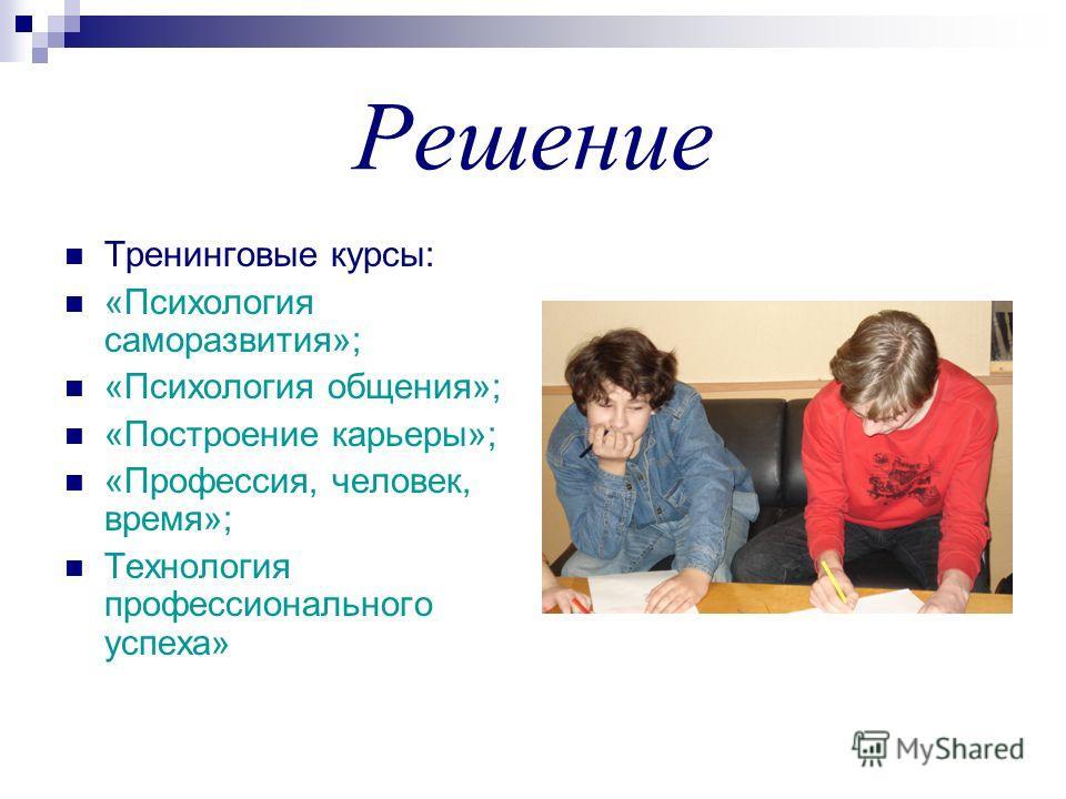 Решение Тренинговые курсы: «Психология саморазвития»; «Психология общения»; «Построение карьеры»; «Профессия, человек, время»; Технология профессионального успеха»