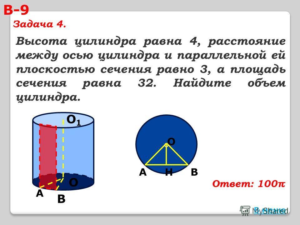 Высота цилиндра равна 4, расстояние между осью цилиндра и параллельной ей плоскостью сечения равно 3, а площадь сечения равна 32. Найдите объем цилиндра. О О1О1 А В о В О АН В меню В-9 Задача 4. Ответ: 100π