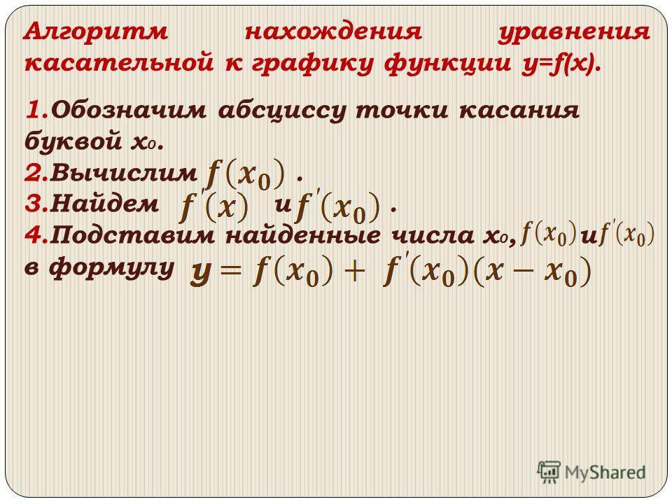 1.Обозначим абсциссу точки касания буквой x 0. 2.Вычислим. 3.Найдем и. 4.Подставим найденные числа x 0, и в формулу Алгоритм нахождения уравнения касательной к графику функции y=f(x).