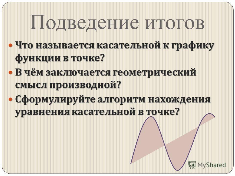 Подведение итогов Что называется касательной к графику функции в точке ? Что называется касательной к графику функции в точке ? В чём заключается геометрический смысл производной ? В чём заключается геометрический смысл производной ? Сформулируйте ал