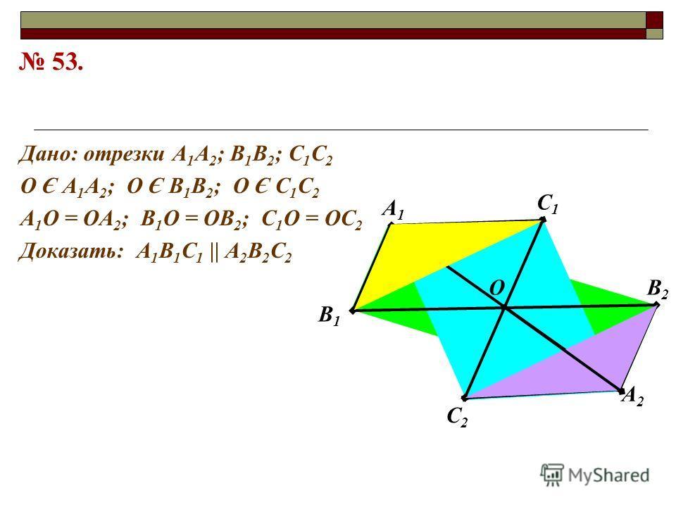 В2В2 С1С1 А1А1 В1В1 А2А2 С2С2 О Дано: отрезки А 1 А 2 ; В 1 В 2 ; С 1 С 2 О Є А 1 А 2 ; О Є В 1 В 2 ; О Є С 1 С 2 А 1 О = ОА 2 ; В 1 О = ОВ 2 ; С 1 О = ОС 2 Доказать: А 1 В 1 С 1 || А 2 В 2 С 2