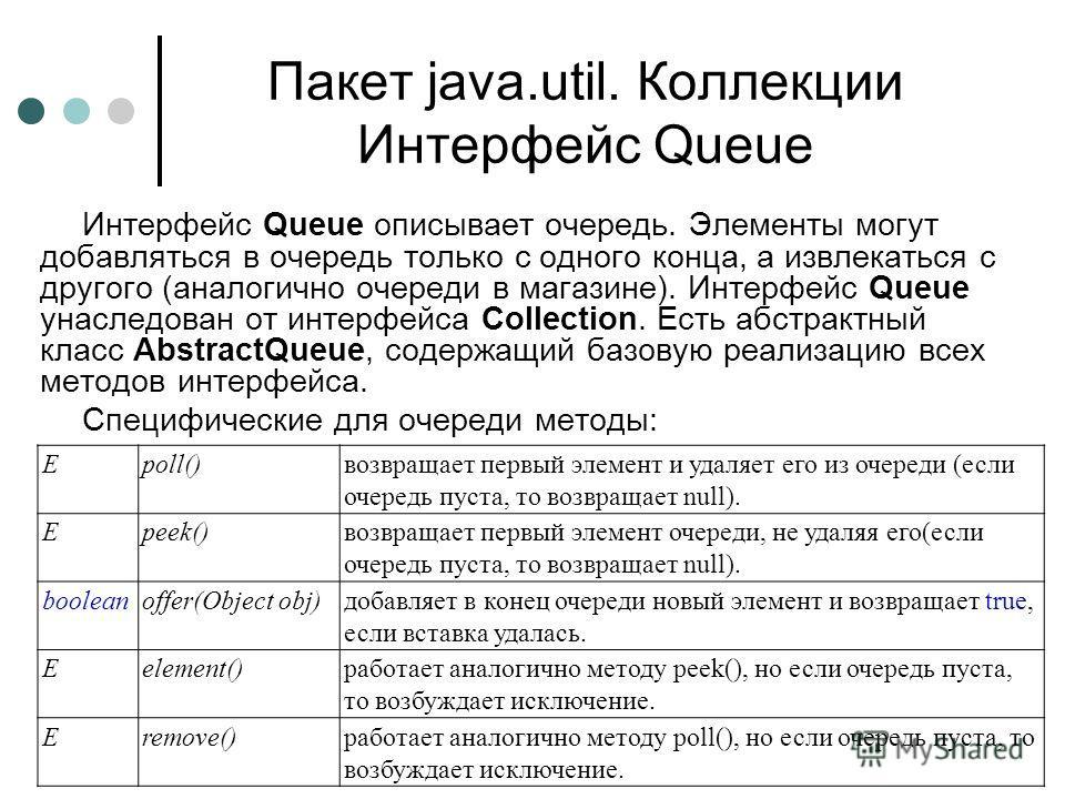 Пакет java.util. Коллекции Интерфейс Queue Интерфейс Queue описывает очередь. Элементы могут добавляться в очередь только с одного конца, а извлекаться с другого (аналогично очереди в магазине). Интерфейс Queue унаследован от интерфейса Collection. Е