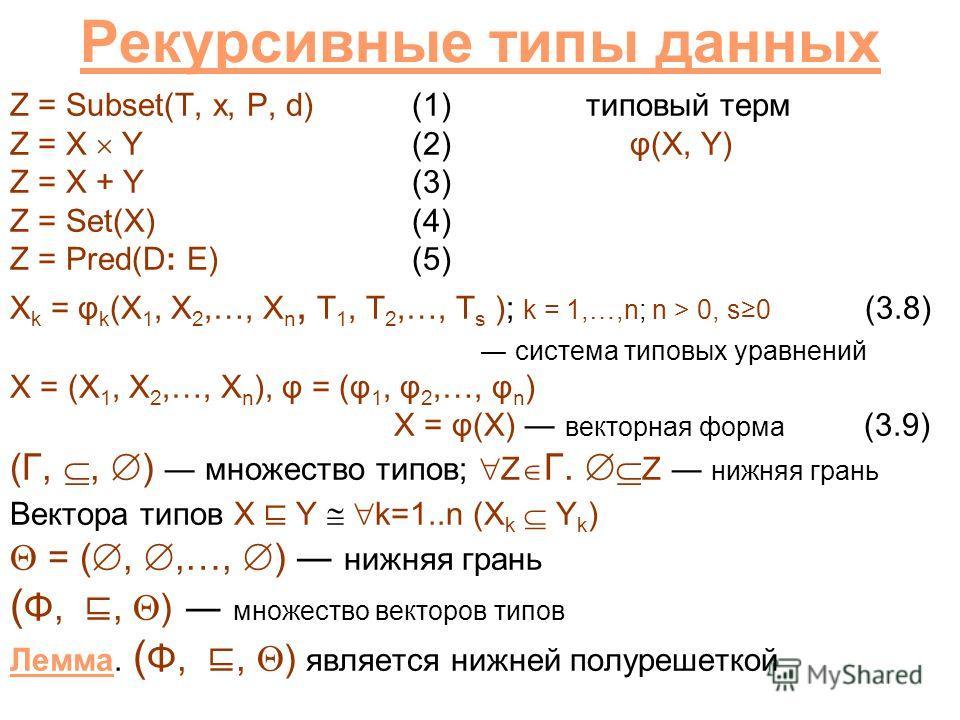 Рекурсивные типы данных Z = Subset(T, x, P, d) (1) типовый терм Z = X Y (2) φ(X, Y) Z = X + Y (3) Z = Set(X) (4) Z = Pred(D: E) (5) X k = φ k (X 1, X 2,…, X n, T 1, T 2,…, T s ); k = 1,…,n; n > 0, s0 (3.8) система типовых уравнений X = (X 1, X 2,…, X
