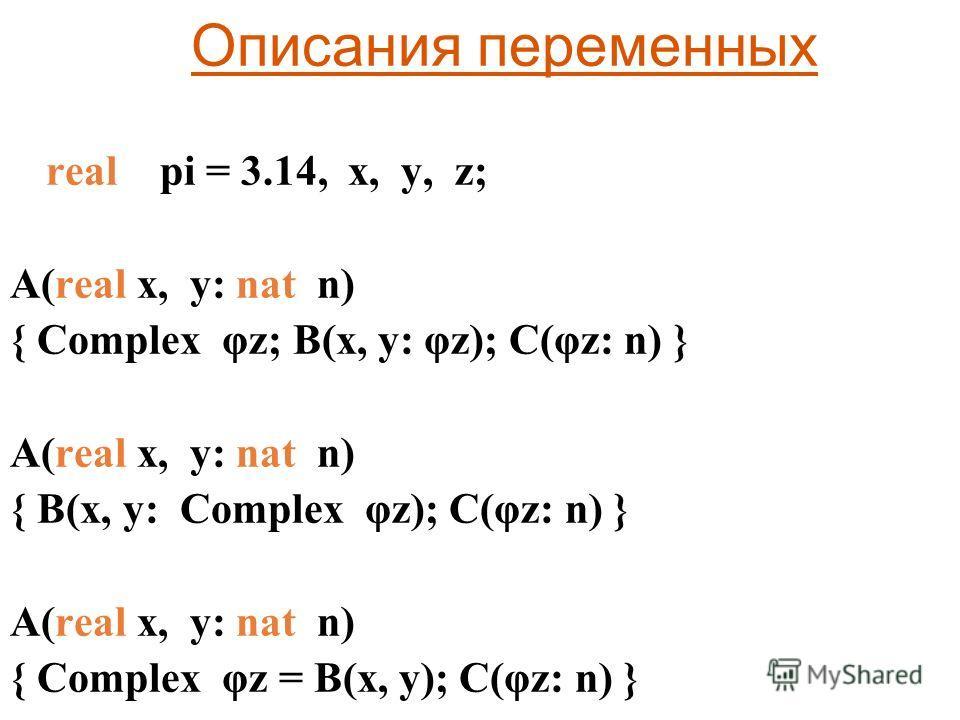 Описания переменных real pi = 3.14, x, y, z; A(real x, y: nat n) { Complex φz; B(x, y: φz); C(φz: n) } A(real x, y: nat n) { B(x, y: Complex φz); C(φz: n) } A(real x, y: nat n) { Complex φz = B(x, y); C(φz: n) }
