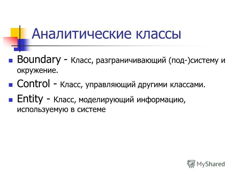 Аналитические классы Boundary - Класс, разграничивающий (под-)систему и окружение. Control - Класс, управляющий другими классами. Entity - Класс, моделирующий информацию, используемую в системе