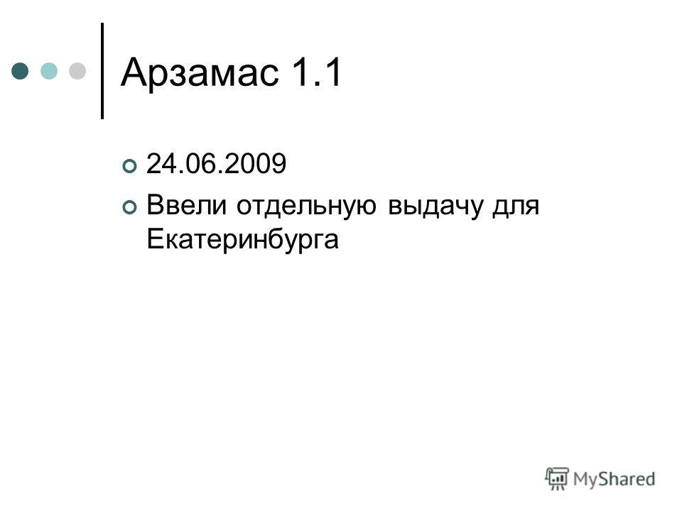 Арзамас 1.1 24.06.2009 Ввели отдельную выдачу для Екатеринбурга