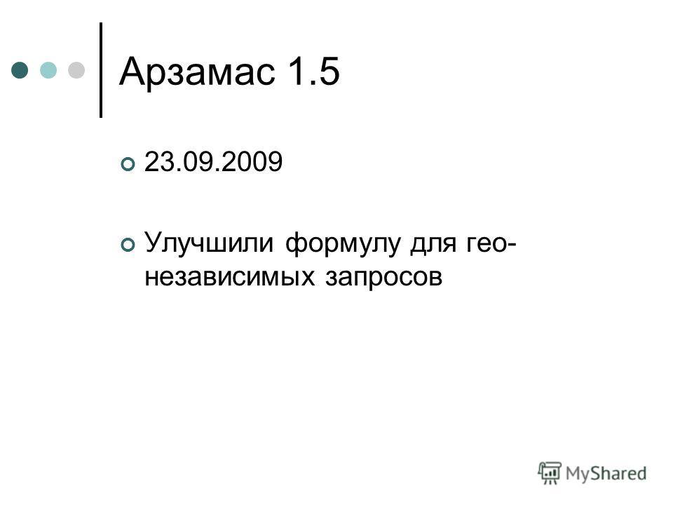 Арзамас 1.5 23.09.2009 Улучшили формулу для гео- независимых запросов