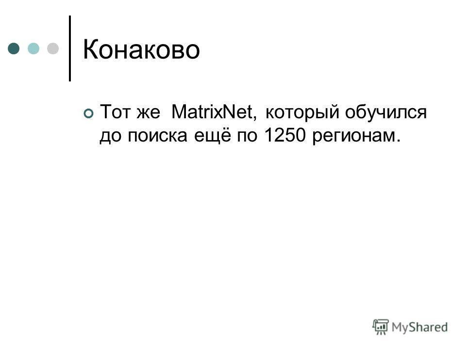 Конаково Тот же MatrixNet, который обучился до поиска ещё по 1250 регионам.