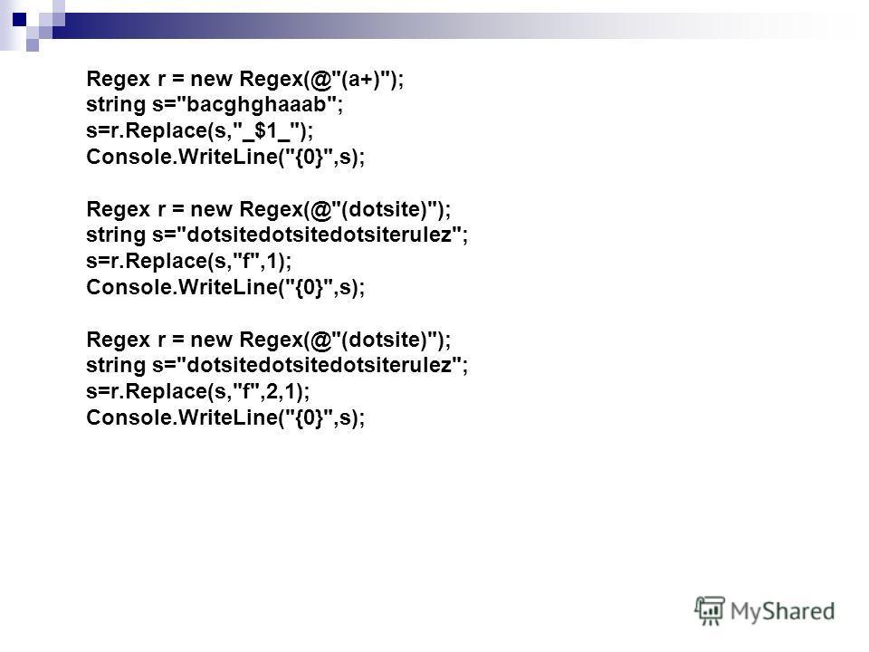 Regex r = new Regex(@