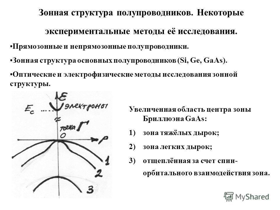 Зонная структура полупроводников. Некоторые экспериментальные методы её исследования. Прямозонные и непрямозонные полупроводники. Зонная структура основных полупроводников (Si, Ge, GaAs). Оптические и электрофизические методы исследования зонной стру