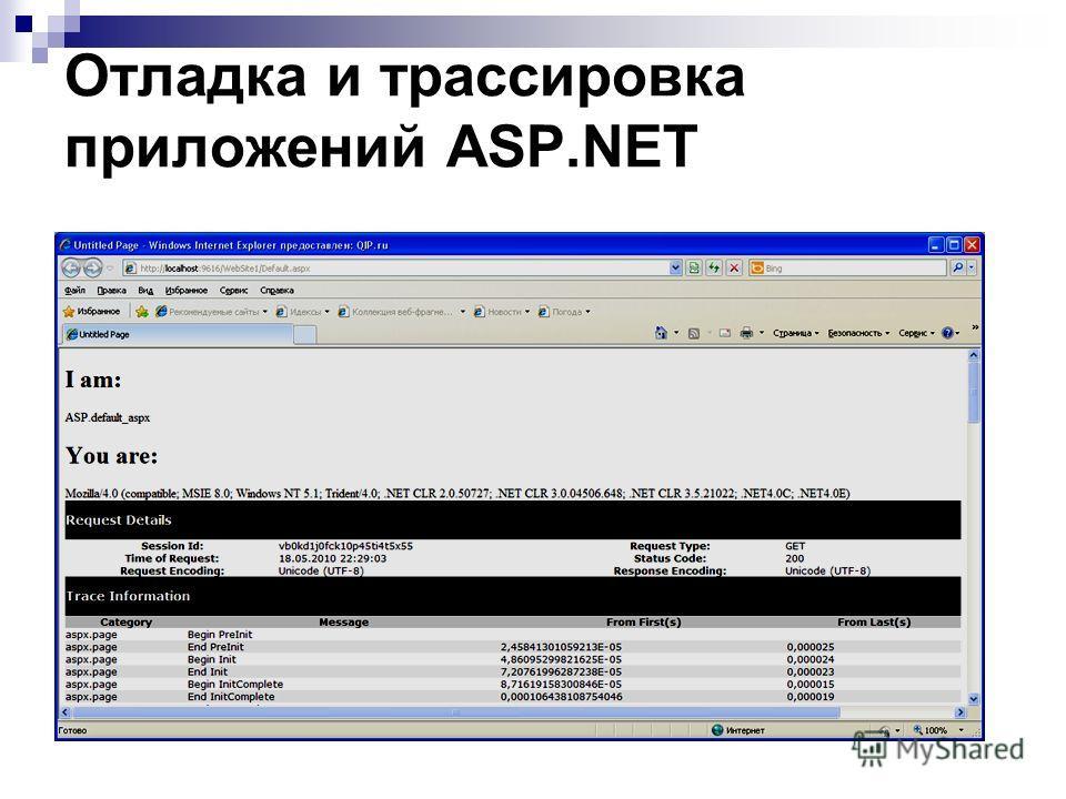 Отладка и трассировка приложений ASP.NET Средства отладки, что и для любых других проектов Visual Studio.NET;