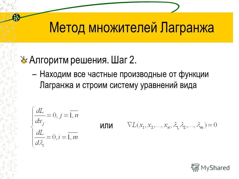 Метод множителей Лагранжа Алгоритм решения. Шаг 2. –Находим все частные производные от функции Лагранжа и строим систему уравнений вида или