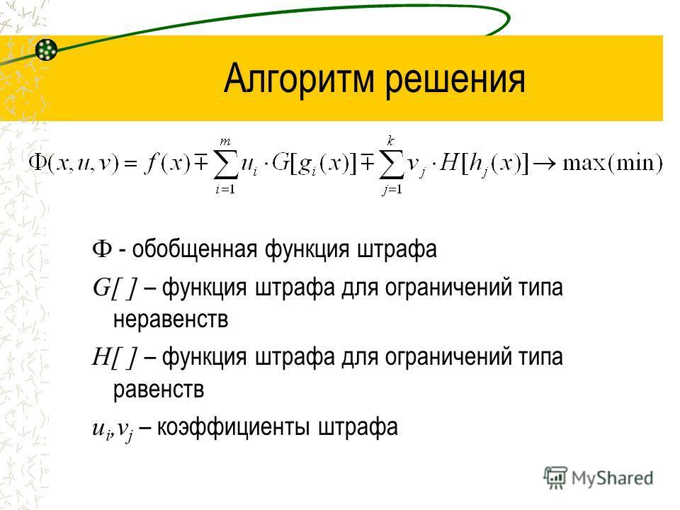 Алгоритм решения Ф - обобщенная функция штрафа G[ ] – функция штрафа для ограничений типа неравенств Н[ ] – функция штрафа для ограничений типа равенств u i,v j – коэффициенты штрафа